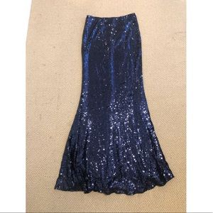 Navy Blue Long Sequined Skirt